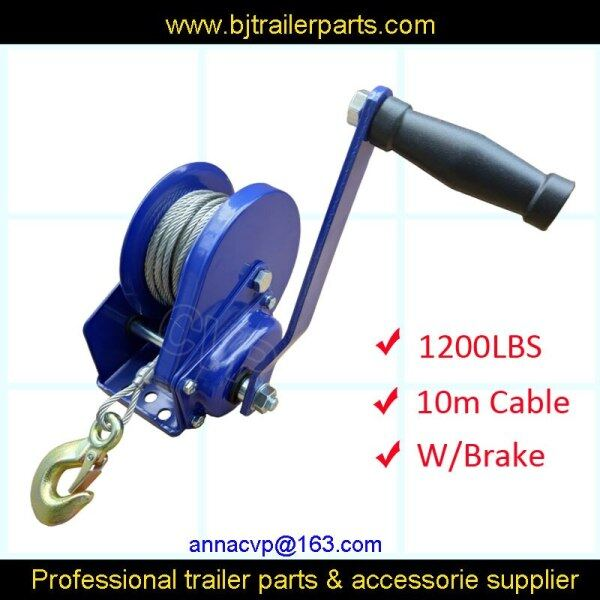 hand winch w/brake 1200lbs cable 10m with hook slef-locking, boat winch trailer parts accessories