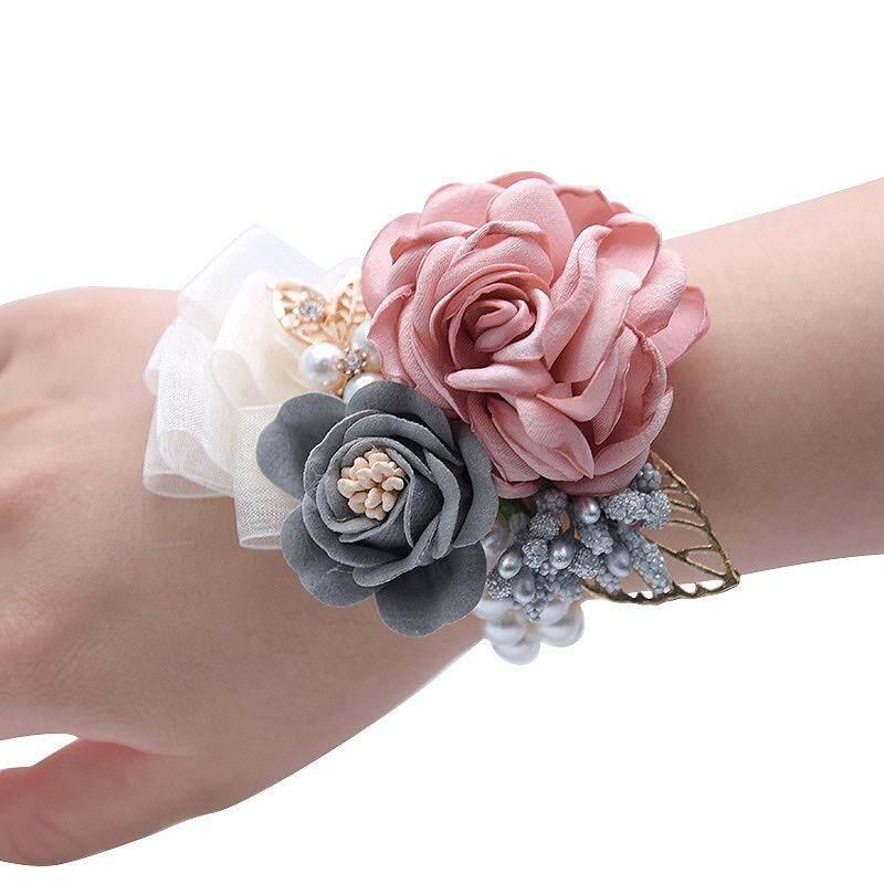 Fancytoy Prom Kain Rose Bunga Pesta Bunga Pergelangan Tangan Pernikahan Boutonnieres Hot Pink Pengiring Pengantin Korsase Tangan Bunga untuk Aksesori Pernikahan