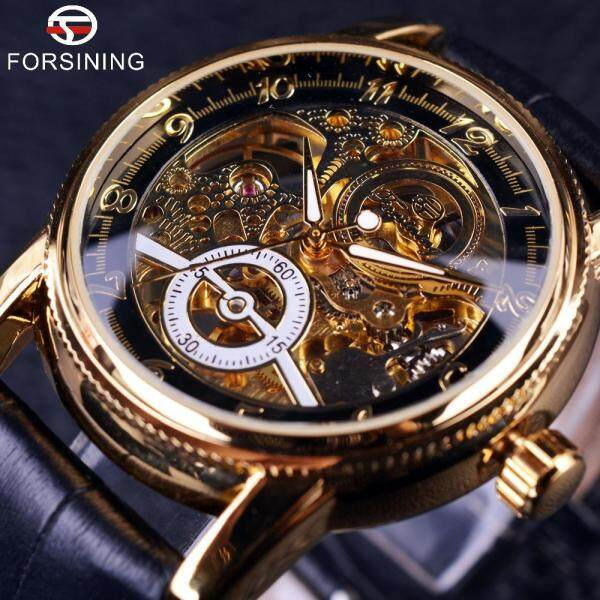 [Fast Shipping][Local Seller ] FORSINING 100% Original New Top Brand Luxury Automatic Mechanical Watch Skeleton Transparent Sports Wrist Watches For Men Malaysia