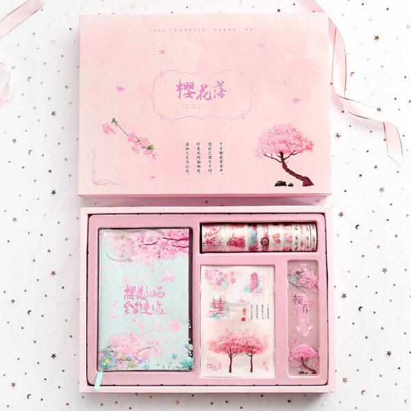 Mua Shinyluck Cherry Blossom Sổ Nhật Ký Bộ Quà Tặng Máy Tính Xách Tay Trái Tim Của Cô Gái Với Băng Và Nhãn Dán Với Thước Kẻ