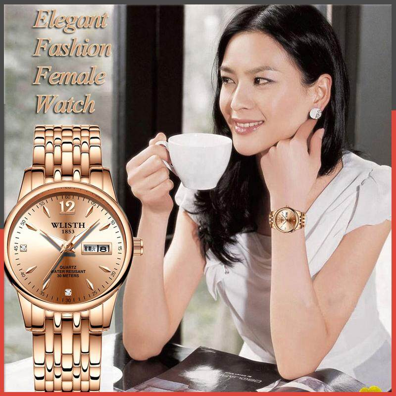 Fashion business watches for women starry Korean version of the trend of waterproof popular birthday gift to send his girlfriend to send friends silver gold steel with date display Malaysia