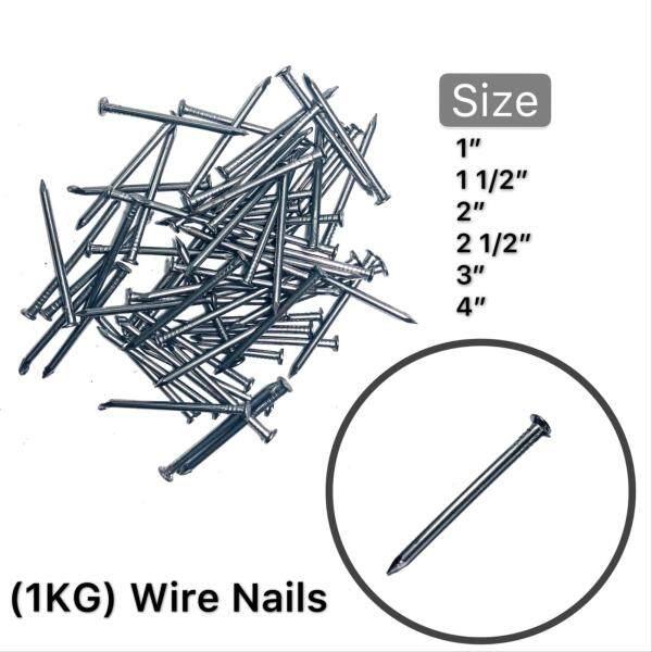 """(1KG)Bright Flat Head 1"""", 1 1/2"""", 2"""", 2 1/2"""", 3"""", 4"""" Common Round Iron Wire Nail / Paku Besi"""