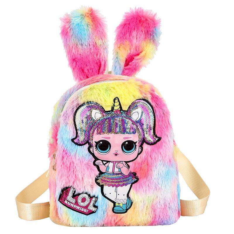 Beg Travel Bag Bag Pack Plush Rabbit Ear LED Light Glitter LOL Backpack POP For Children