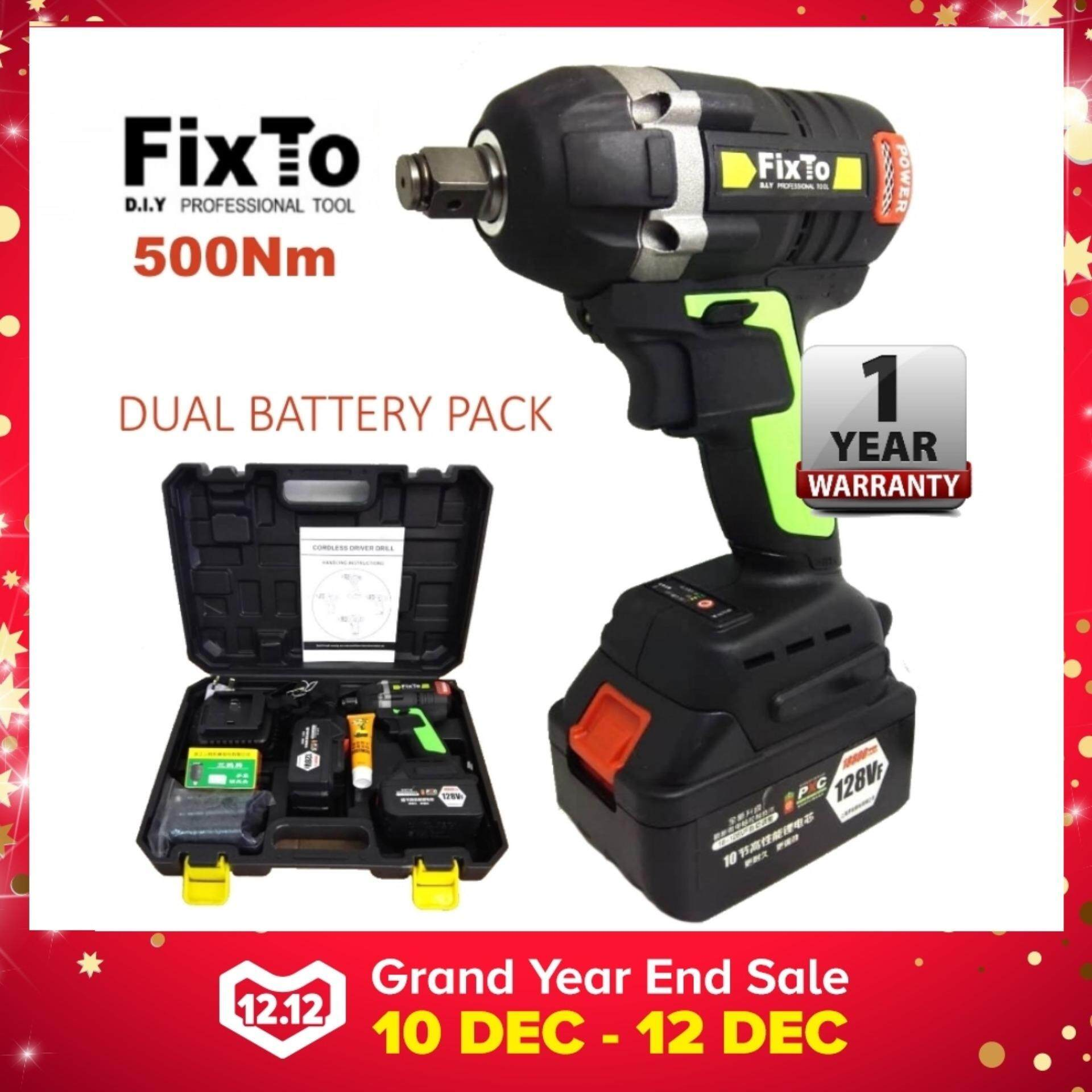 FixTo 500Nm Torque Heavy Duty Cordless Impact Wrench 1/2 Drill Screwdriver (Two Battery Pack)