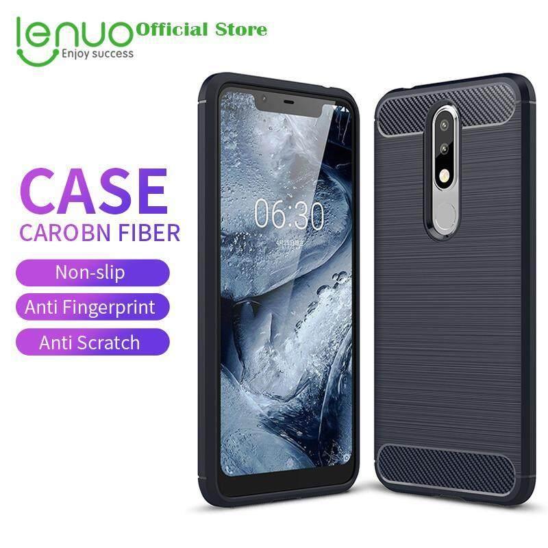 Giá Lenuo Mềm dành cho Nokia 5.1 Plus và Nokia X5 Sợi Carbon Dẻo Silicone Trường Hợp Chải Chống Kích Điện Thoại di động ỐP Lưng TPU Vỏ dành cho Nokia 5.1 Plus