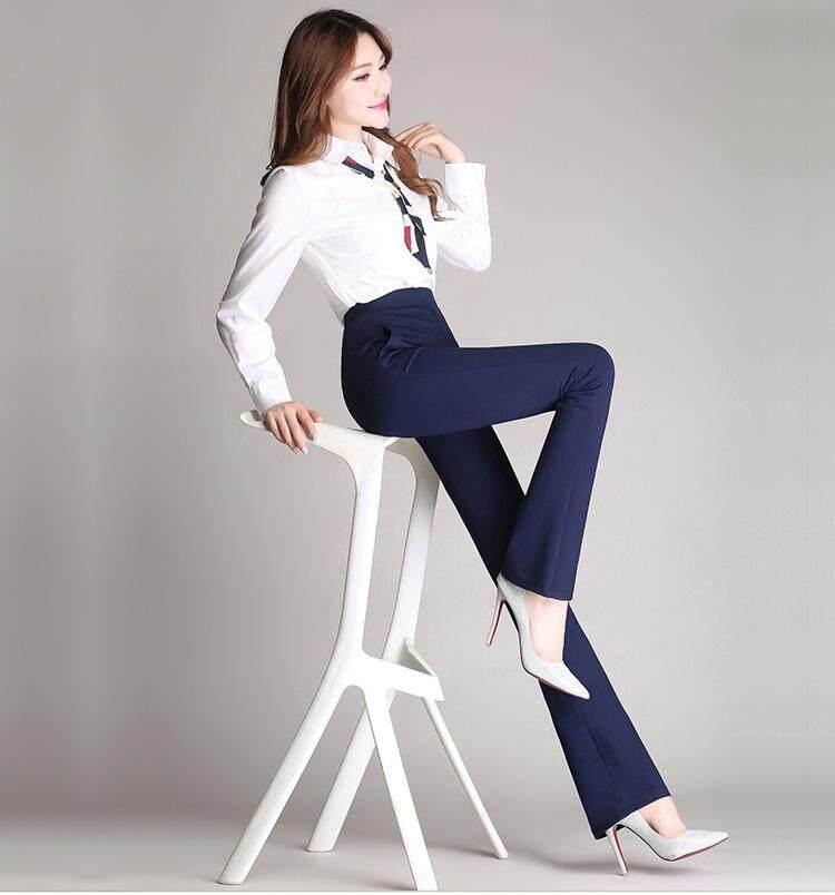 09edd24dac9475 Plus Size Long Pants Elegant Elastic Women Pants High Waist Flare Formal  Pants