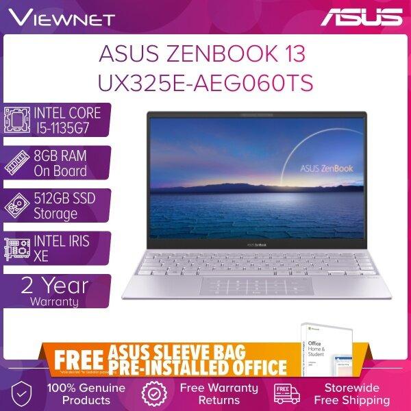 ASUS ZENBOOK 13 UX325E-AEG060TS Laptop INTEL CORE I5-1135G7 8GB DDR4 OB 512GB SSD INTEL IRIS XE GRAPHIC 13.3 FHD LILAC OFFICE H&S 2 Years Warranty Malaysia