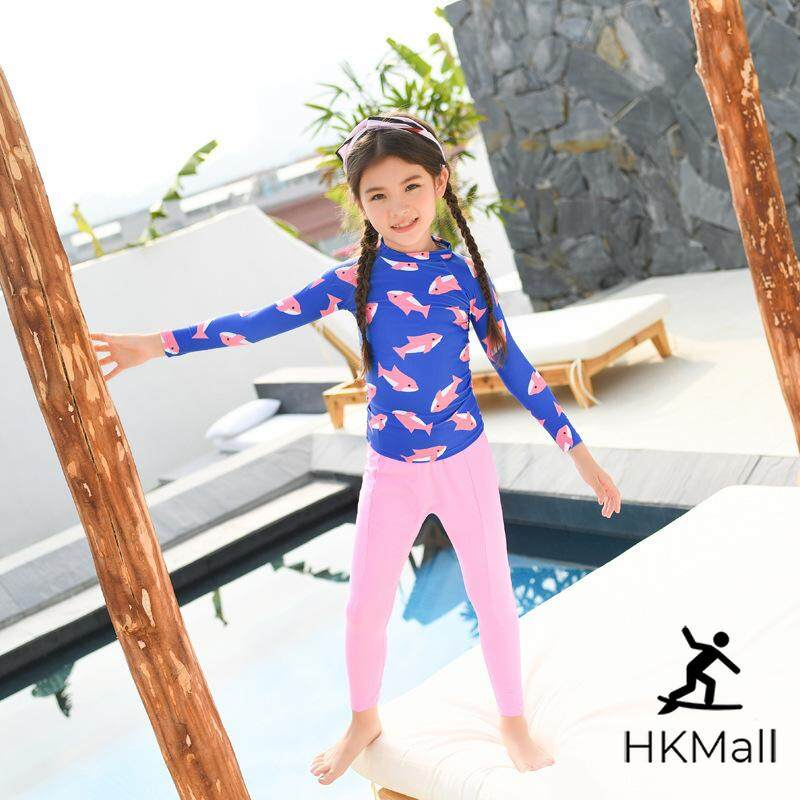 9dbcdbc2ec9 Hk Mall Girls Swimwear Rashguards Long Sleeves Tops Long Pants Set Swimming  Swimsuits Sports Beachwear Bathing