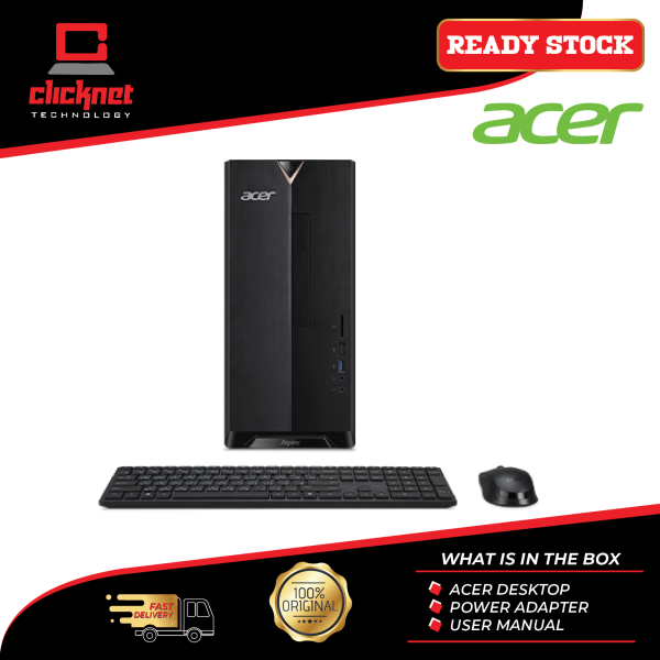 Acer Desktop PC Aspire TC886-9400W10 Black (i5-9400F, 8GB, 1TB, 256GB, NV GTX1650, W10H) Malaysia