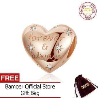 Bamoer พราวรูปหัวใจลูกปัดสำหรับผู้หญิงเครื่องประดับทำ Forever Love เสน่ห์เงินแท้ 925 เสน่ห์สร้อยข้อมือ scc1223