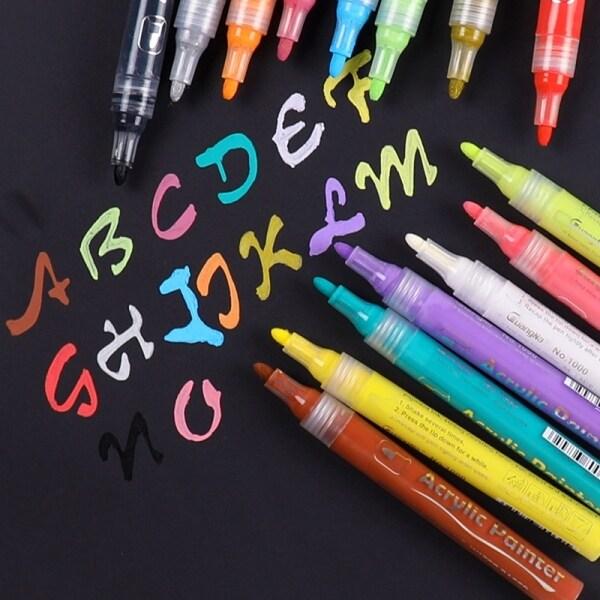 Mua 15 Màu Sắc/Bộ Bút Đánh Dấu Màu Vẽ Acrylic Cho Gốm Đá ThủY Tinh Cốc Sứ Gỗ Vải Tranh Vải Bố