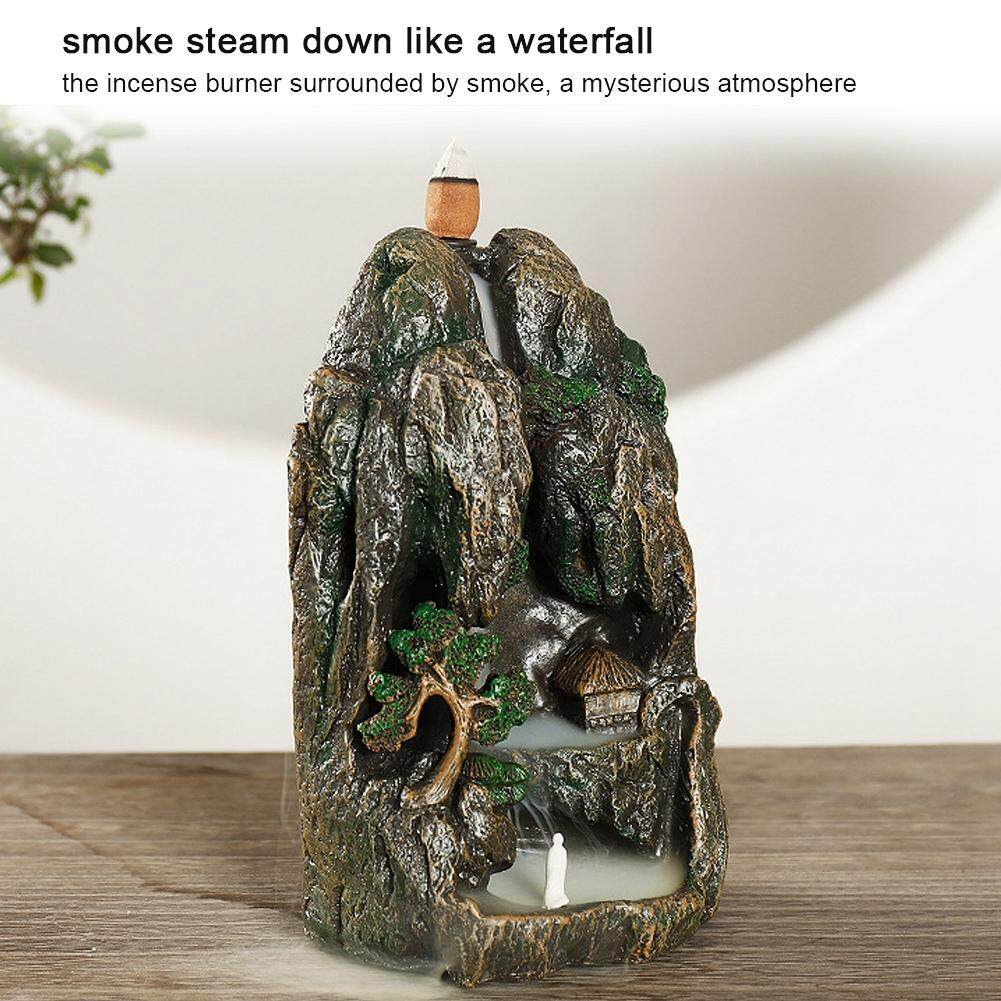 Waterfall Mountain Tower Backflow Resin Incense Burner Holder Sandalwood Furnace with 10 Cones