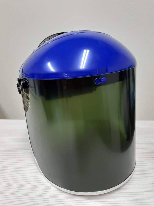 BLUE EAGLE Blue Browguard ABS Holder B1BL with HG1 Headgear + Green Polycarbonate Faceshield Visor Shade #3 FC48G3 /Shade #5 FC48G5, Certified by CE, ANSI