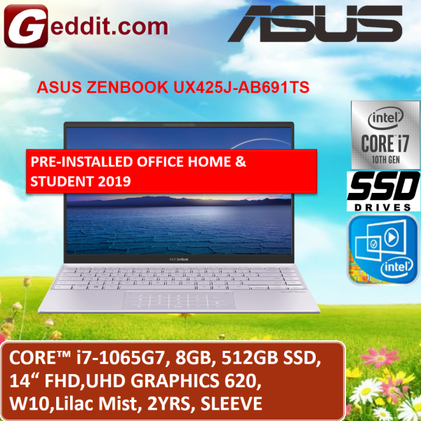 ASUS ZENBOOK UX425J-AB689TS / UX425J-ABM691TS LAPTOP (I7-1065G7,8GB,512GB SSD,14 FHD,UHD GRAPHICS 620,WIN10) FREE SLEEVE + PRE-INSTALLED OFFICE H&S 2019 Malaysia