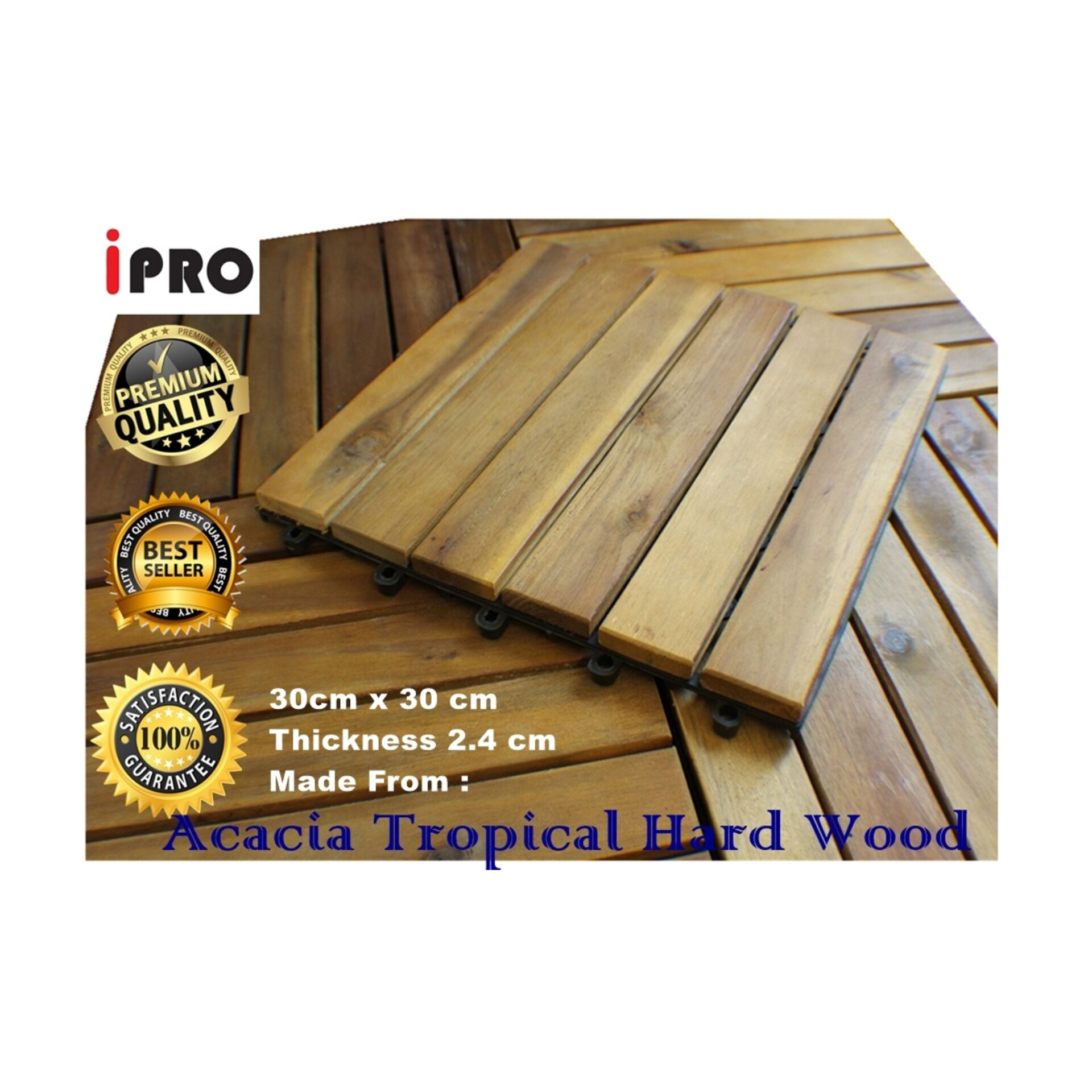 IPRO 1 Pcs Acacia Wood Floor Decking Timber Deck tile, Garden Decoration Flooring, Hard Wooden Floor (2.4 cm thickness) DIY Kayu Lantai , Carpet - Wood, Outdoor, Natural wood Finishing, Original Solid Acacia Hard Wood