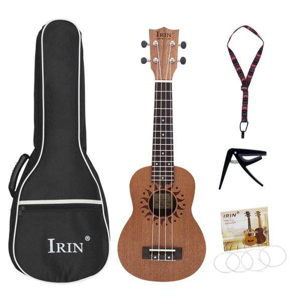 YH 21inch Ukulele Sapele Wood Flower Sound Hole 15 Fret Four Strings Guitar+Bag+String+Capo+Strap Malaysia