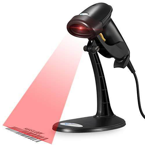 Esky USB Automatic Barcode Scanner Scanning Reader Wired Handheld/Handfree 1D Laser Bar Code USB Wired for POS System Sensing and Scan Black with Adjustable Stand,For Store, Supermarket, Warehouse