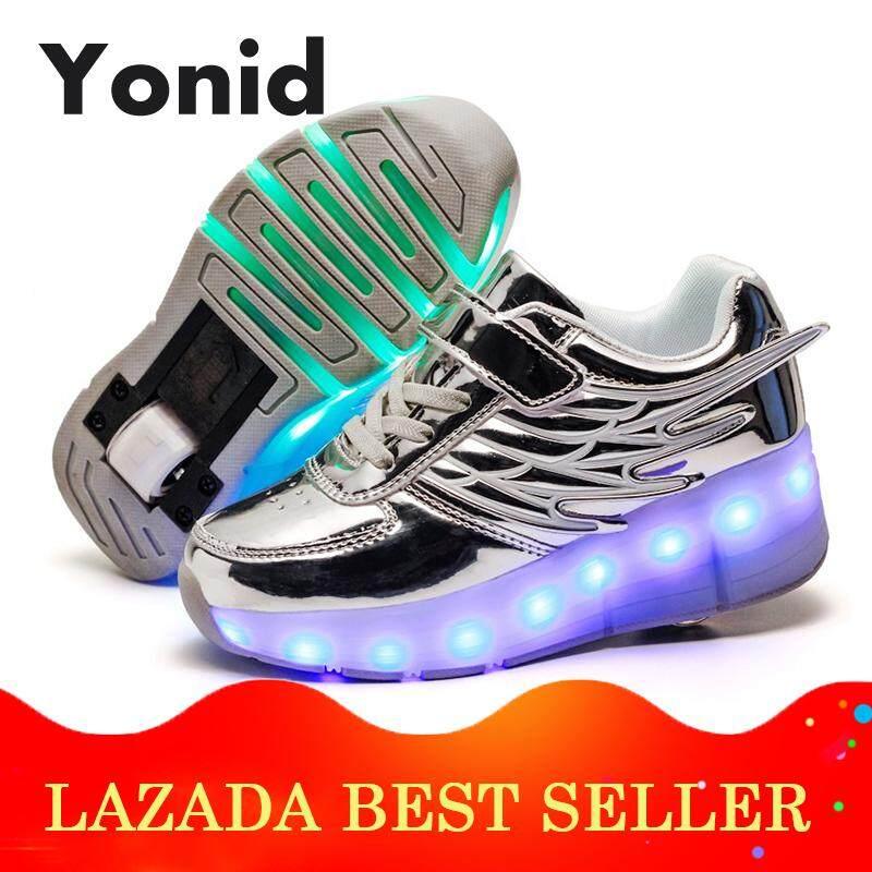 Yonid Ukuran 28-40 Anak Led Sepatu Heelys Roda Tunggal Sneaker Beroda Skate Mentee Senter Sepatu By Yonid