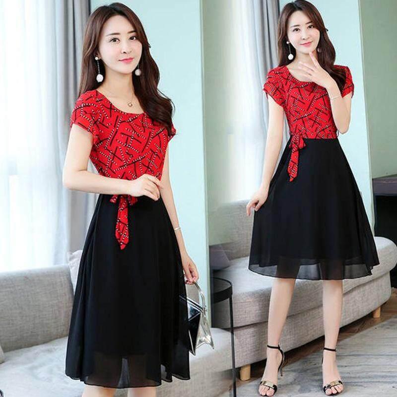 ea96cb37c HuaX Women Dresses Korean Style Casual Stripe Pattern Short-sleeved  A-shaped Dress Fashion