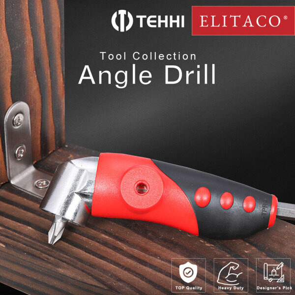 【ELITACO】 1/4 Inch Hex Shank 105° Degree Right Angle Drill Attachment Driver Screwdriver Extension Holder Adapter