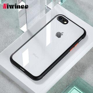 NIWINEE Cho iPhone 6 6s 7 8 6 Plus 7 Plus 8 Plus SE 2020 X XS XR XS Max Ống Kính Chống Rơi Tất Cả Trong Một Màu Trắng Trong Suốt Vỏ Bảo Vệ Máy Ảnh Chống Trượt Ốp Lưng Cho Nam và Phụ Nữ Đơn Giản Mờ thumbnail