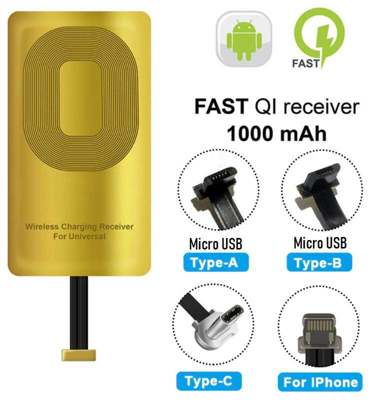 Qi Wireless Charger Receiver Import Chip Coil For Lightning Iphone 5 6 7 Micro Usb Xiaomi Huawei Type C Samsung Galaxy A8 Huawei P20 Mate 10 Mate 20 By Ishopped.