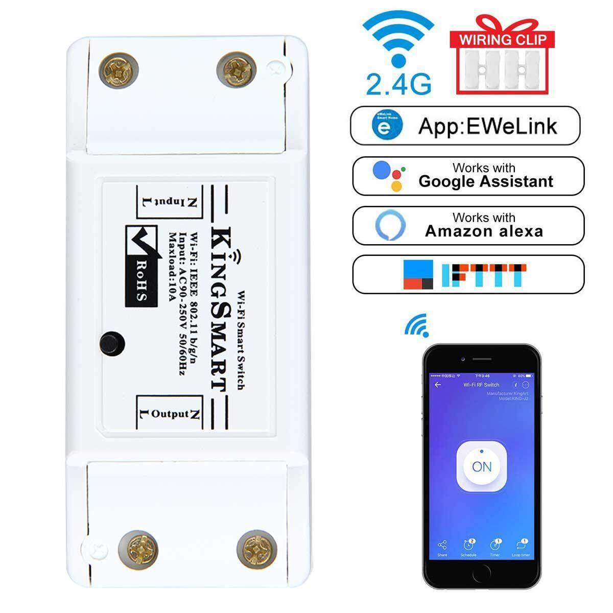 Aolvo WiFi Smart Switch Wireless Remote Control Switch Module with Timer Compatible with Alexa Echo Google Home IPhone Android