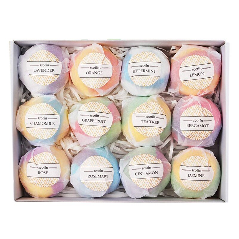 Bath Bombs Gift Set - 12 Handmade Fizzies For Women - Perfect For Bubble & Spa Bath- Essential And Fragrance Oils For Moisturizing Dry Skin
