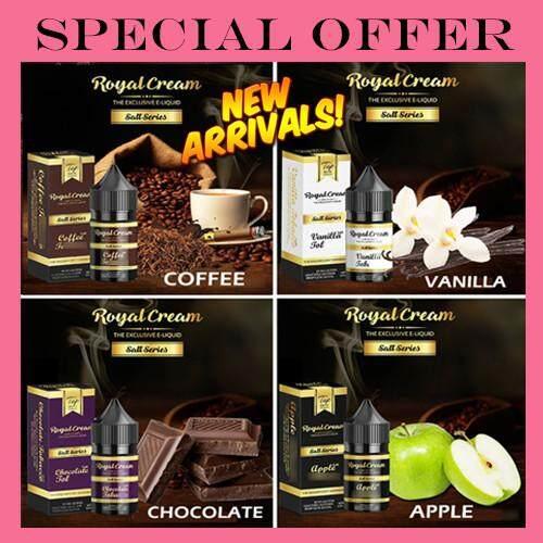 (Creamy Salt 35/50 ) Original Royal Cream Salt Salts Premium 30ML ( Apple/  Vanilla / Chocolate / Coffee ) Ready stock Ejuice Royal Cream Tobacco