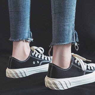 OMS Giày Vải, Giày Thể Thao Hàn Quốc Sinh Viên Ins Phong Cách Harajuku Thường Ngày Cổ Điển Cổng Cho Nữ thumbnail