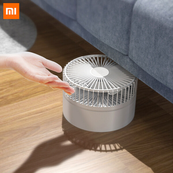 Xiaomi Mijia Qualitell Folding Fan USB Rechargeable Fan Wireless Use Air Cooling Fan Humidification Floor Desktop Pedestal Fan Detachable Design Remote Control 3 Wind Speed Fan Easy to Carry For Home Office With Night Light