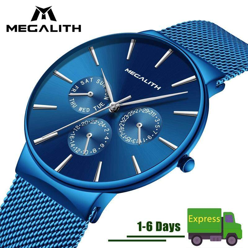 MEGALITH Fashion Watch Men Quartz Watches Simple Mens Luxury Chronolograph Stainless Steel Mesh Waterproof Ultra Thin Date Wristwatch Clock Malaysia