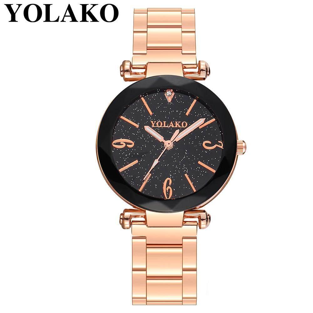 BPFAIR YOLAKO Casual Quartz Stainless Steel Band Newv Strap Watch Analog Wrist Watch Free shipping Malaysia