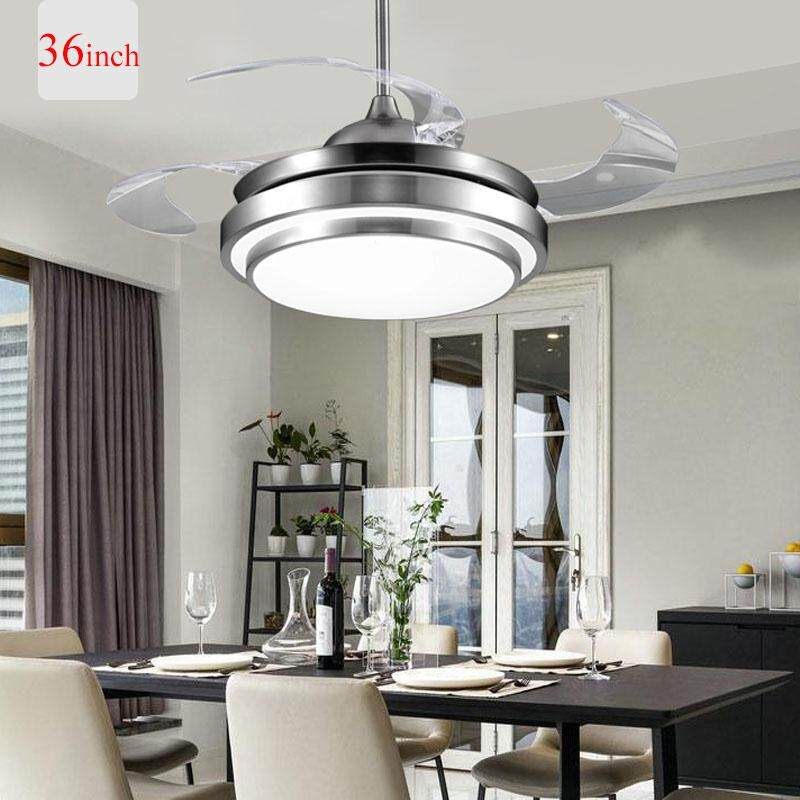 LED Modern Simple Remote Control Ceiling Fans Lights Acrylic Leaf Simple and Silent Three-color Dimming Led Ceiling Fans LED Lamp LED Light Ceiling Lights 220V 36/42 Inch for Factory Office Living room Parlor Restaurant Bedroom