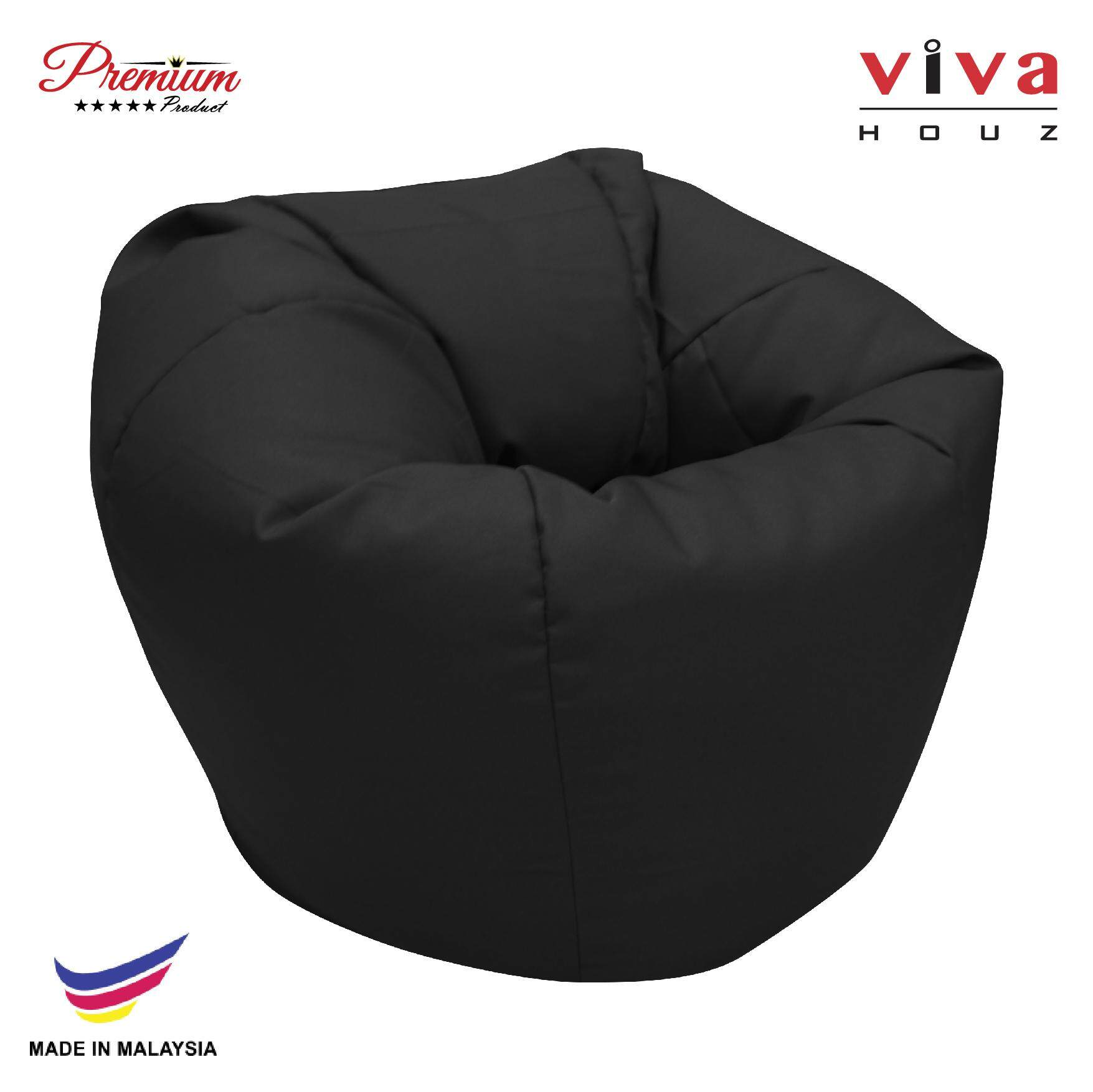 Hot Selling : Perfect Bean Bag Sofa Pouffe Chair Black Made In Malaysia By Viva Houz.