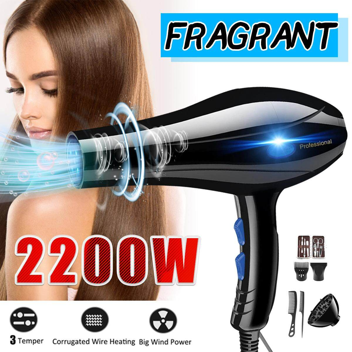 220V 2200W Blue Light Aromatherapy Hair-Care Cold / Hot Hair Blow Dryer