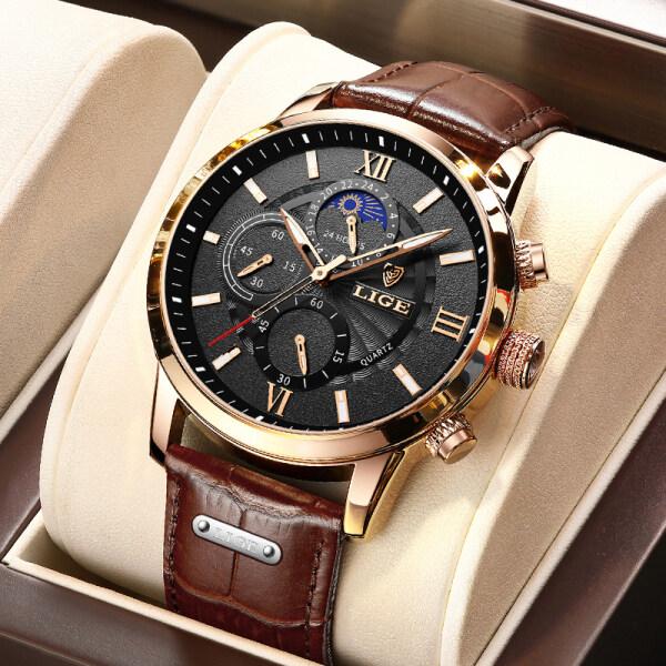 LIGE 2021 đồng hồ nam chính hãng mới nhất Đồng hồ đeo tay thời trang thể thao chronograph dây da chống thấm nước bán chạy