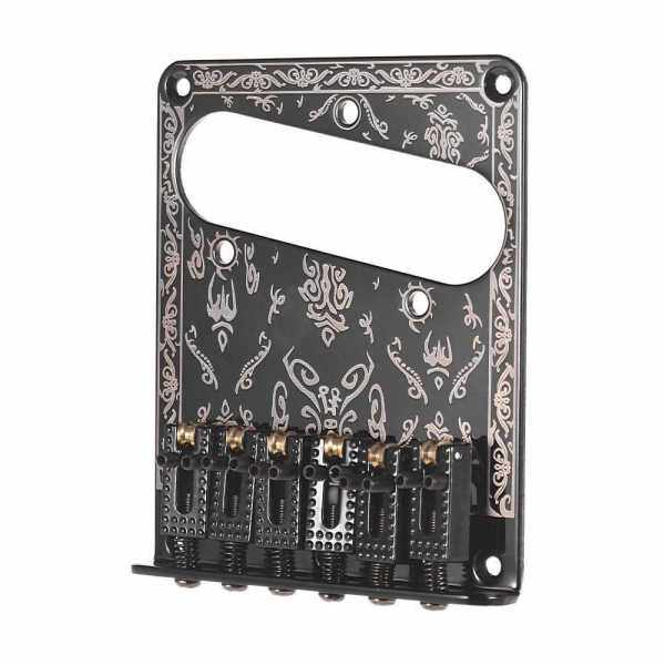 Guitar Replacement Parts 6 Strings Fixed Bridge 6-Saddle Hardtail Bridge with Screws and Wrench for Electric Guitars Laser Black (Black) Malaysia
