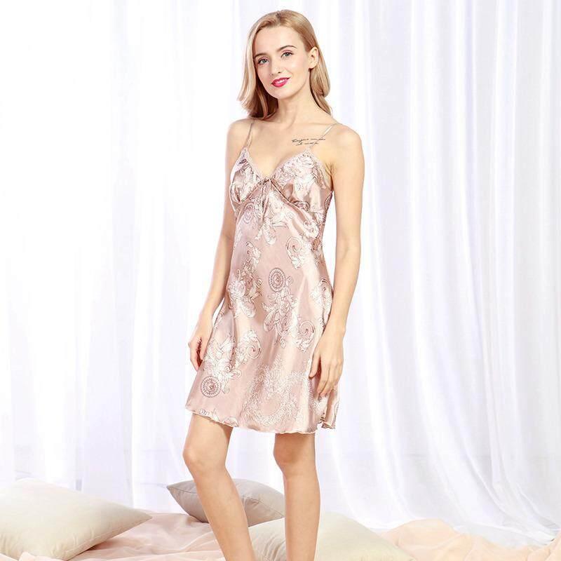 New Satin Summer Women Sexy Sleepwear Women Ladies Nightwear Nightdress  Stripe Printed Nightwear 67830d0f3