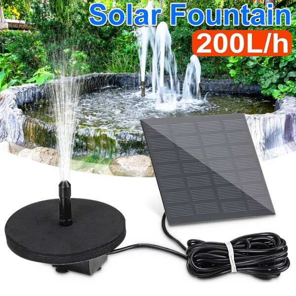 【Free Shipping】200L/h Solar Powered Fountain Pool Water Pump Watering Pond Submersible Solar Panel ,Stand Base,6Pcs Sprinkler with 3 Meter Extension Cable Home Garden Outdoor Fish Tank