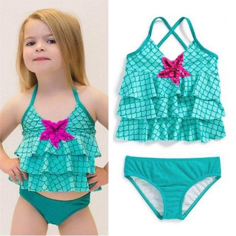 Toddler Kids Girls Merimaid Bikini Set Swimwear Swimsuit Bathing Suit By Lg566.