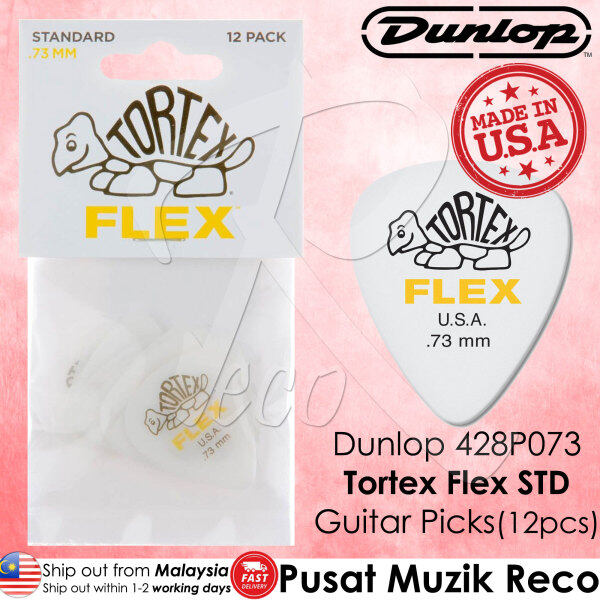 Dunlop 428P073 Tortex Flex Standard Guitar Pick 0.73mm Guitar Picks Player Pack MADE IN USA (12pcs) Malaysia