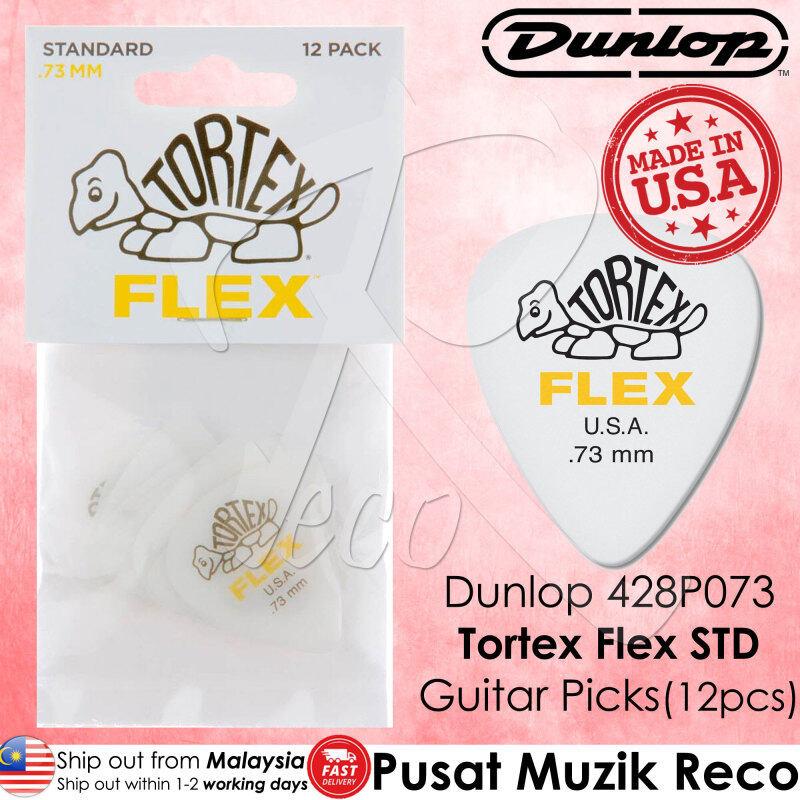 Dunlop 428P073 Tortex Flex Standard Guitar Pick 0.73mm Guitar Picks Player Pack MADE IN USA (12pcs) Malaysia