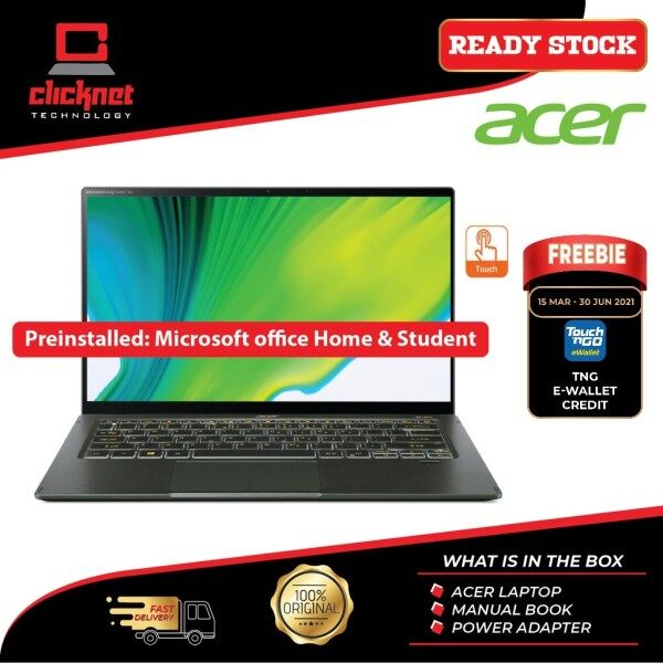Acer Swift 5 SF514-55TA-55MW 14 FHD Touch Laptop Mist Green (I5-1135G7, 8GB, 512GB SSD, Iris Xe, W10, H&S) Malaysia