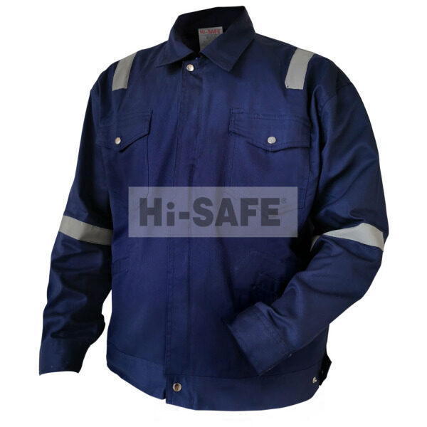 Hi-Safe HSF-40-3101-XL 100% Cotton Working Jacket Navy Blue with reflective Size: XL