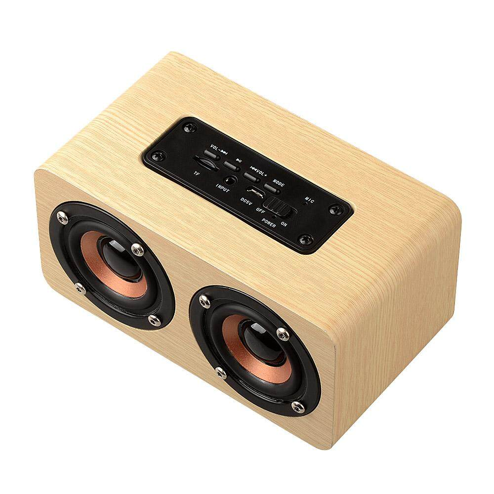 W5 Yellow Wood Grain Bluetooth Speaker Bluetooth 4 2 Dual Louderspeakers  Super Bass Subwoofer Hands-free with Mic 3 5mm AUX-IN TF Card Light Yellow