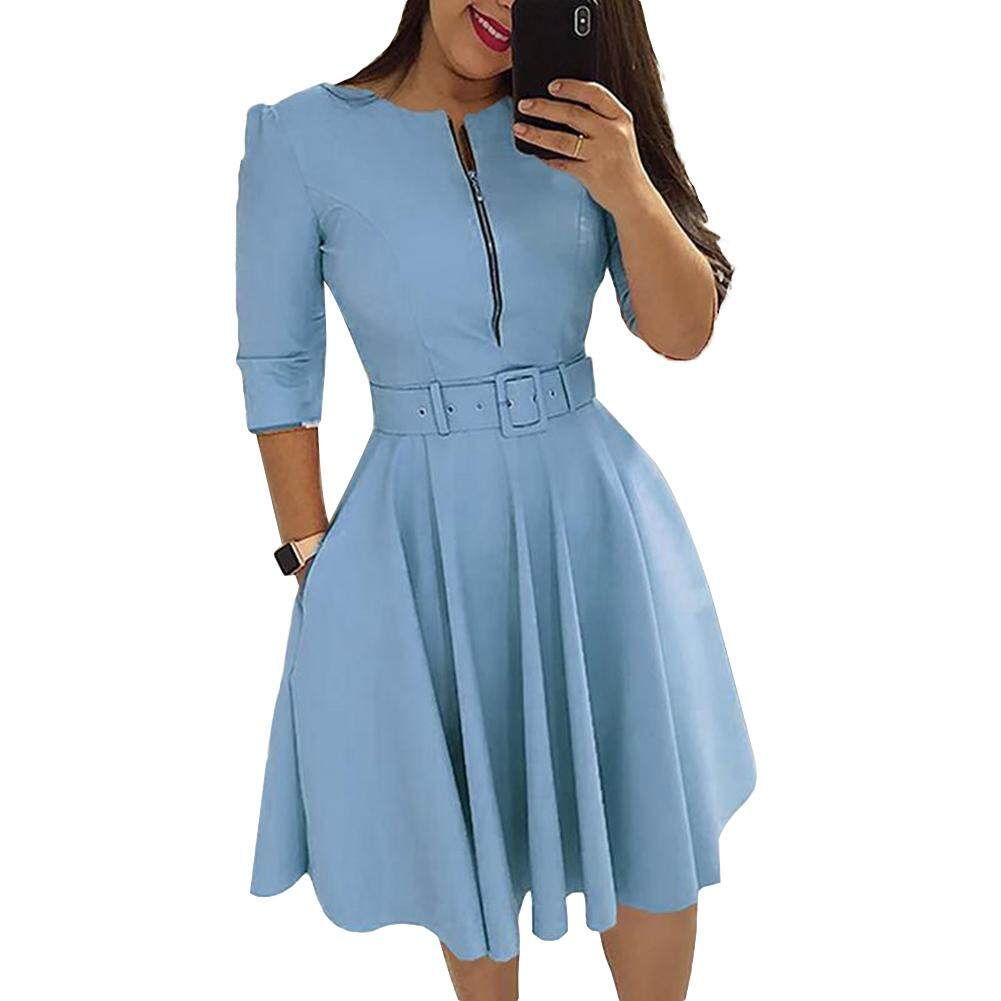 6f8857c1474 Party Fashion Women Solid Color Half Sleeve Zipper Slim Fit Midi Dress with  Belt