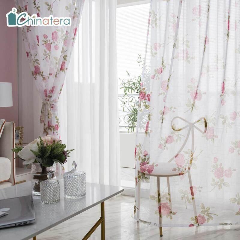 [Chinatera] Ins Hiện Đại Hoa Hồng Phong Cách In Hoa Đục Lỗ Trượt Rèm Cửa Bằng Vải Tuyn Ban Công Phòng Polyester Cửa Sổ Màn Hình Treo Lên Rèm Cửa Trang Trí Nội Thất
