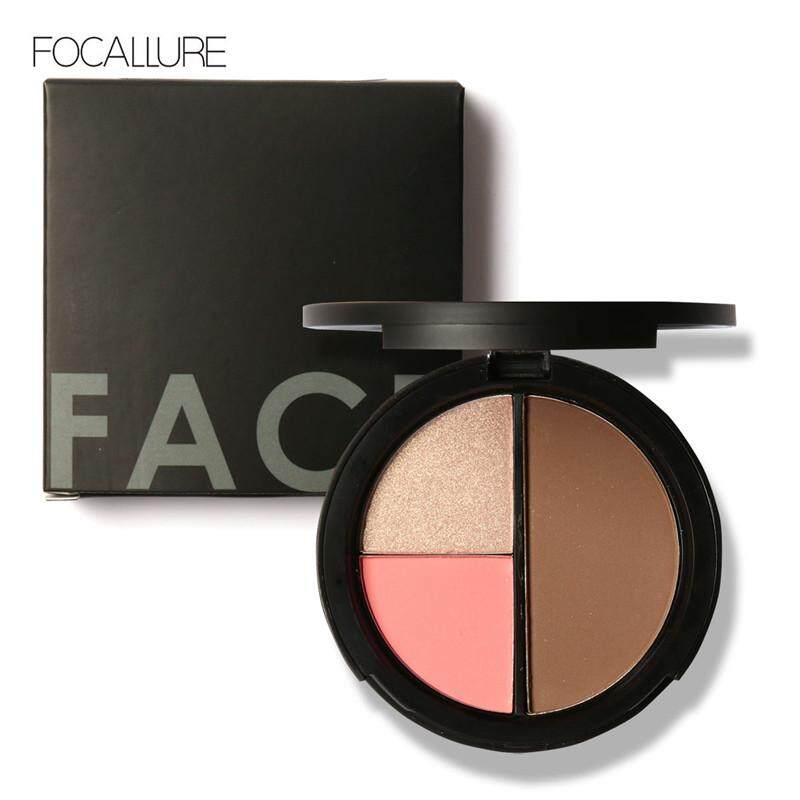Focallure 3 Colors Highlighter Bronzer Blush Palette By Focallure Official Store.