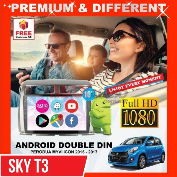 [Basic Family Package] PERODUA MYVI ICON 2015 - 2017 (10') Android Full HD 1080P WIFI GPS Mirror Link (1+16 SKY T3 Spec) (2.5D IPS) Player with Casing